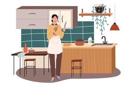 Mujer Cocinando En Casa Concepto Web Cocina