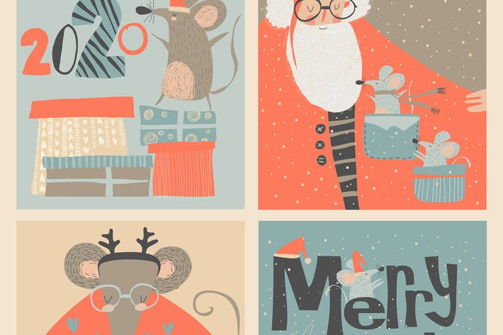 Thumbnail for Vector set of Christmas cards with cute mouse and