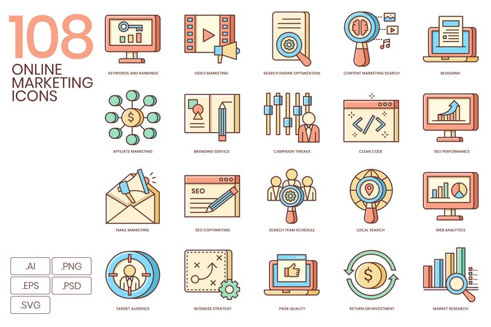 108 Fresh Online Marketing Icons