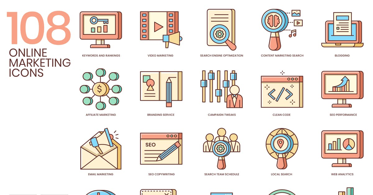 Download 108 Fresh Online Marketing Icons by Krafted