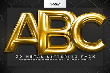Paquete de letras de metal 3D