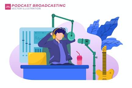 Podcast Broadcasting Flat Illustration