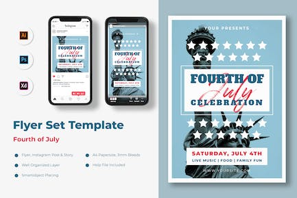 USA Independence Day Flyer Set