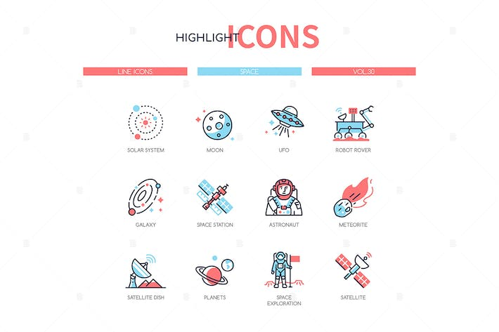 Thumbnail for Space concept - line design style icons set