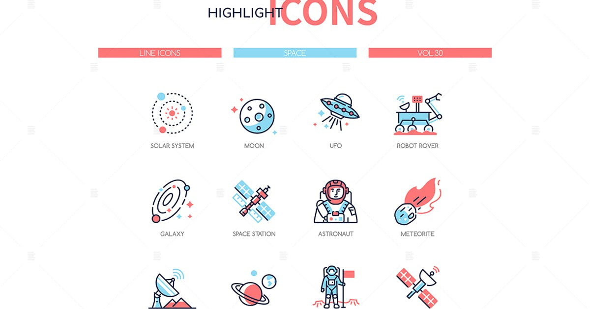 Download Space concept - line design style icons set by BoykoPictures
