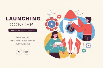 Launching Concept Startup Illustration