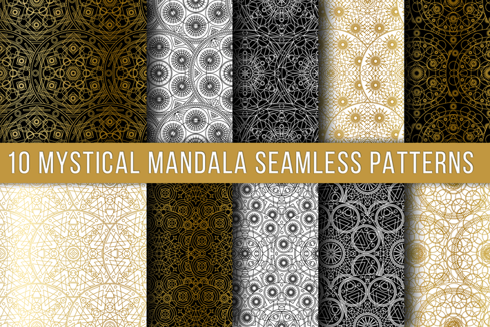 Thumbnail for Mystical Mandala Seamless Patterns Set