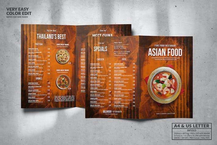 Cover Image For Asian Bifold Food Menu Design A4 & US Letter