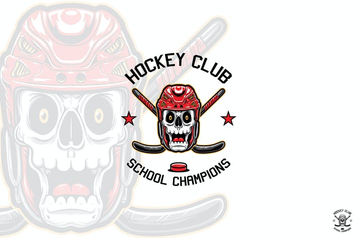 Thumbnail for Hockey Skull Player Logo Mascot