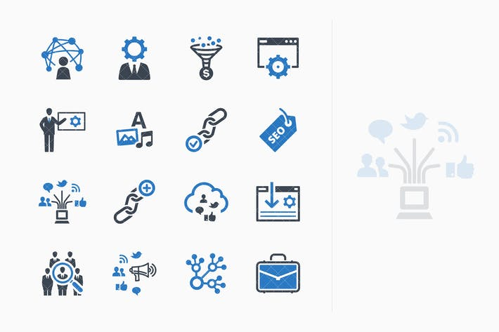 Thumbnail for SEO & Internet Marketing Icons Set 2 - Blue Series