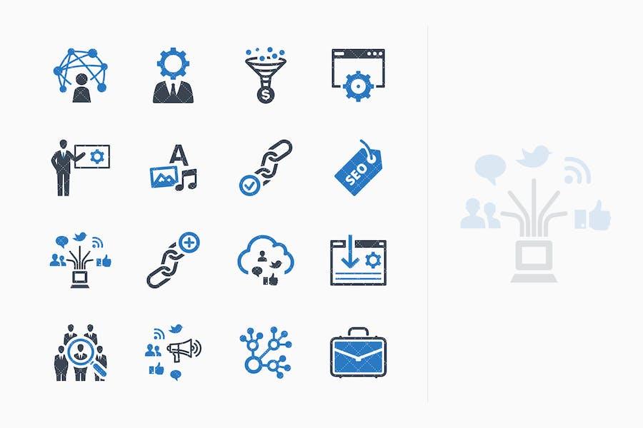 SEO & Internet Marketing Íconos Kit 2 - Blue Series