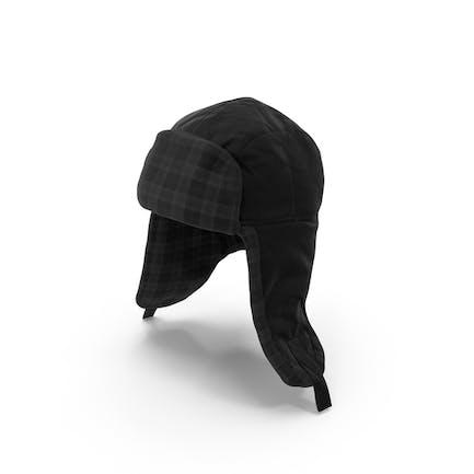 Women's Ear Flap Hat Black Tartan