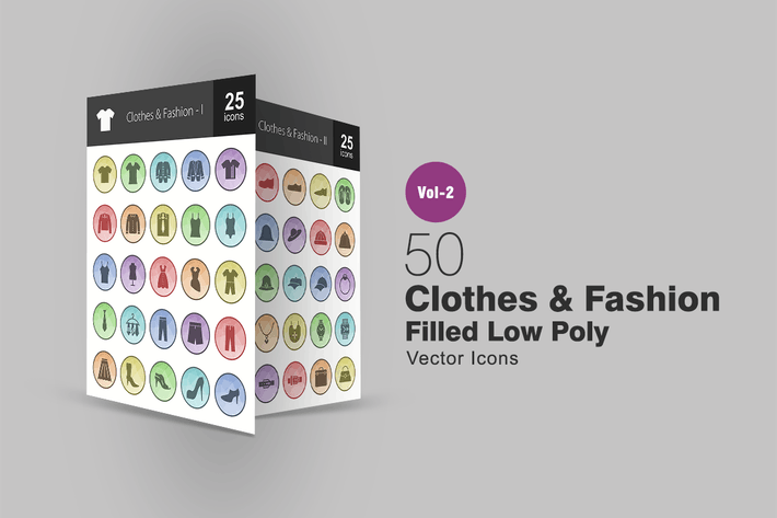 Cover Image For 50 Clothes & Fashion Filled Low Poly Icons