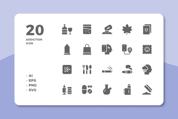20 Addiction Icons (Solid)