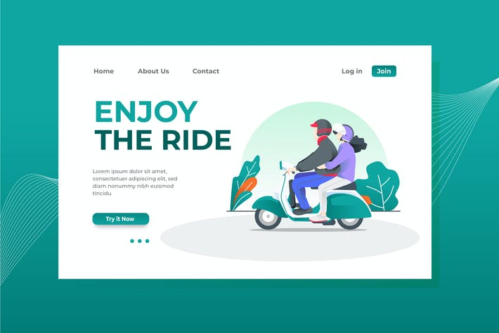 Enjoy the Ride Landing Page Illustration