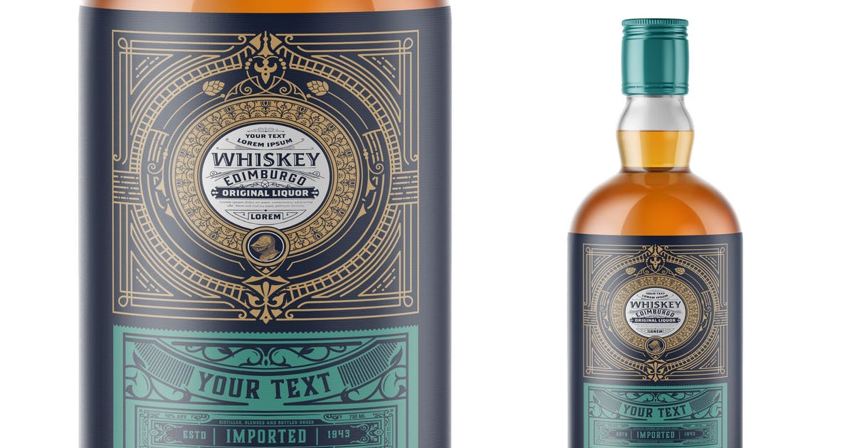Download Vintage Whiskey Label Packaging Layout by roverto007