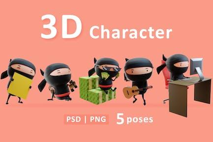 Conjunto 3D de personajes ninja en diferentes acciones