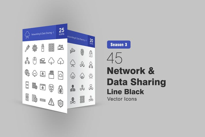 Thumbnail for 45 Network and Data Sharing Line Icons