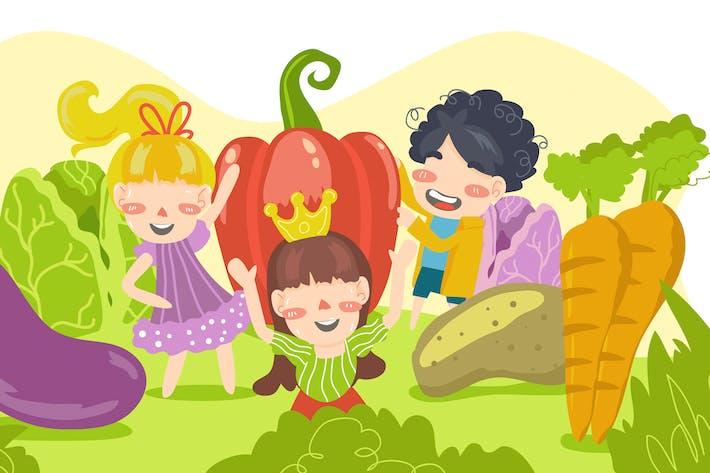 Thumbnail for Vegetable Food & Kids Illustration