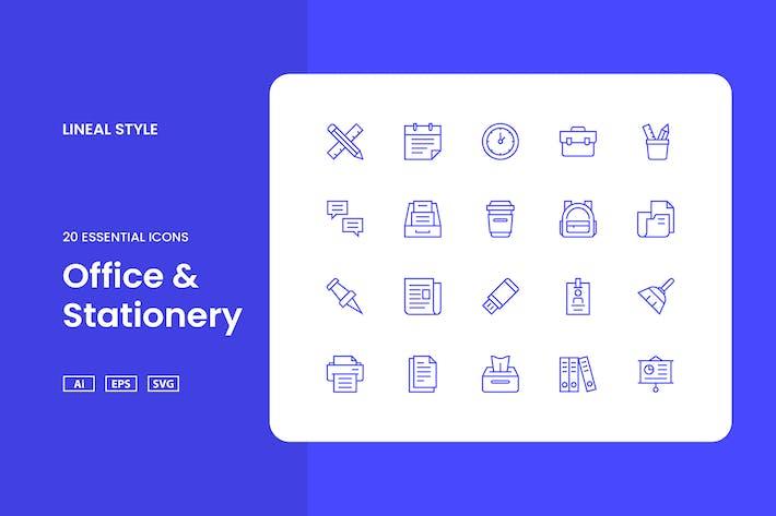 Büro & Schreibwaren - Icon-Set