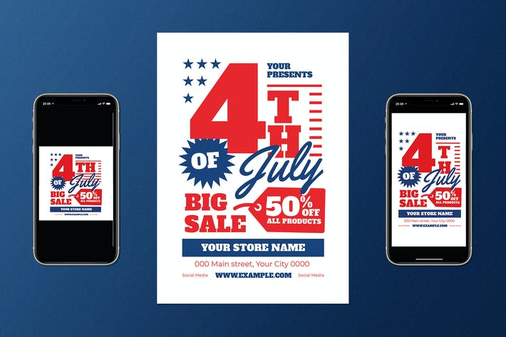 Thumbnail for 4Th Of July Big Sale Flyer Set