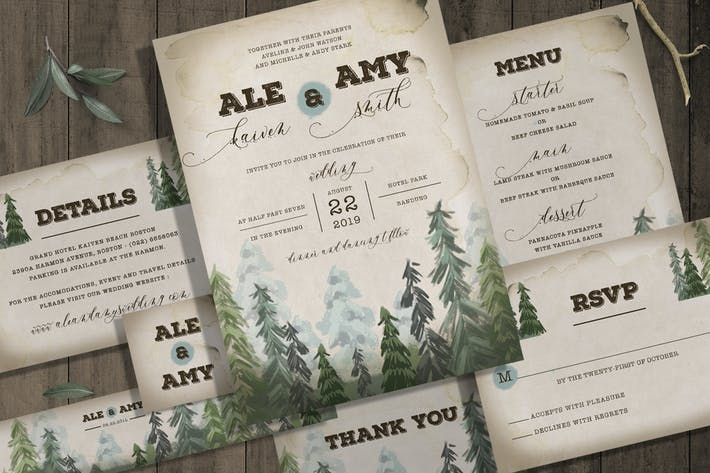 Thumbnail for Pine Trees Wedding Invitation Set