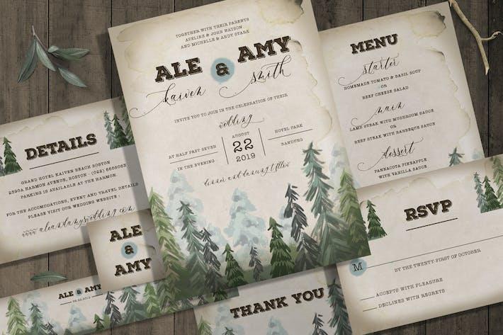Pine Trees Wedding Invitation Set