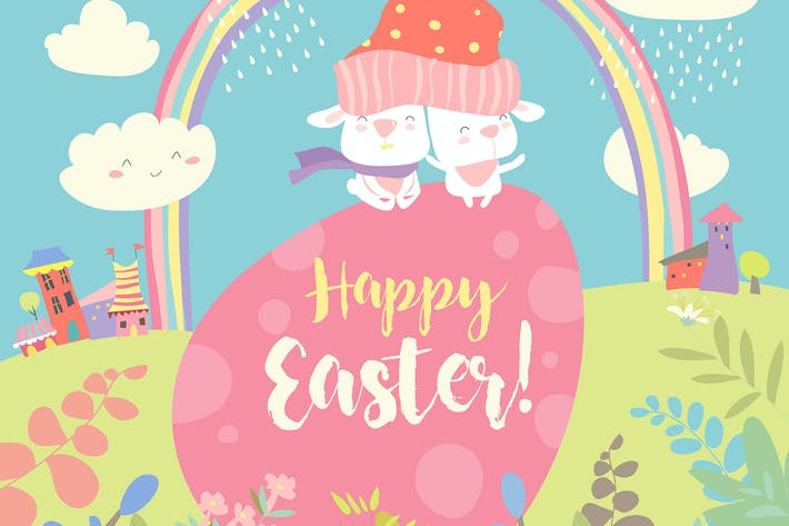 Easter bunnies and easter egg. Vector illustration