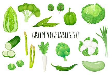Green Vegetables Realistic 3D Elements