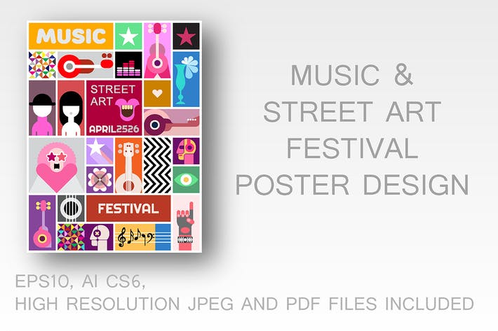 Cover Image For Street Art Poster Vector Template Design