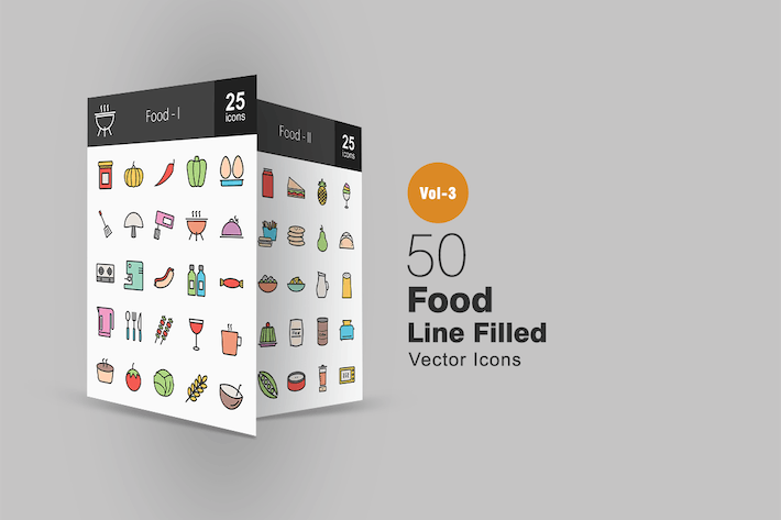 Thumbnail for 50 Food Line Filled Icons