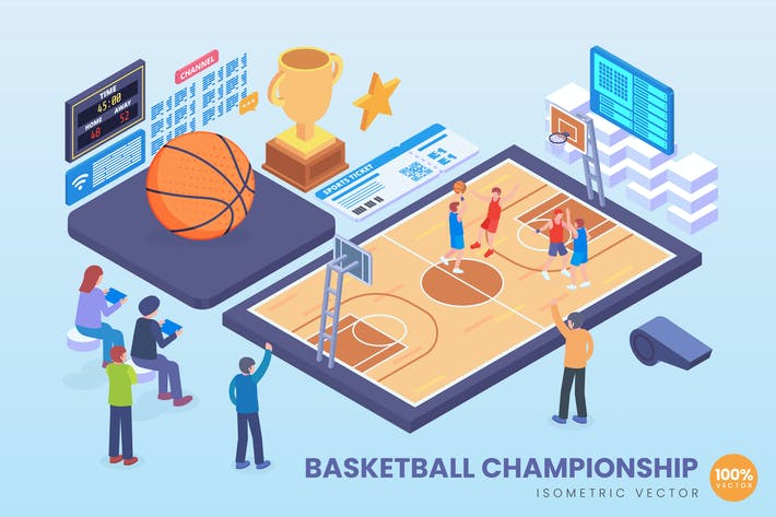 Thumbnail for Isometric Basketball Championship Vector Concept