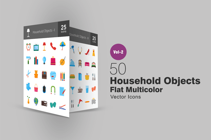 50 Household Objects Flat Multicolor Icons