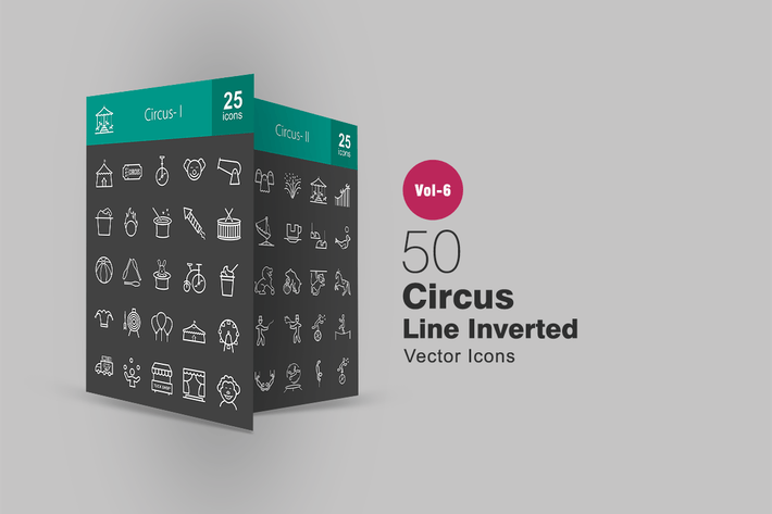 Thumbnail for 50 Circus Line Inverted Icons