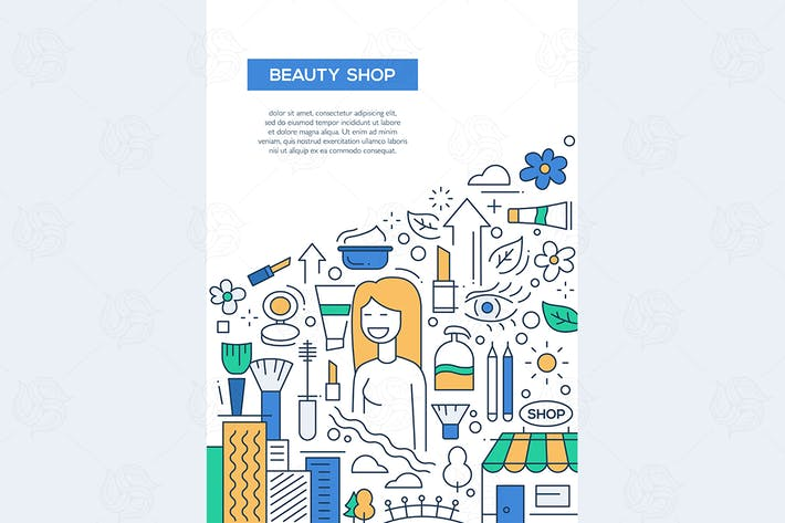 Thumbnail for Beauty Shop - line design brochure poster template