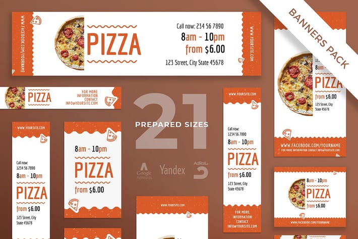 Cover Image For Pizza Restaurant Banner Pack Template