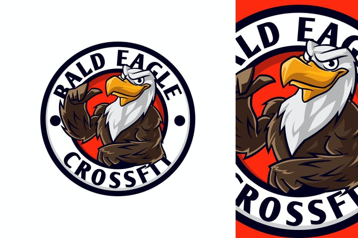 Fit Eagle Mascot Character Emblem Logo