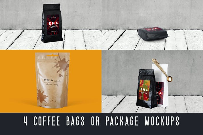Thumbnail for 4 Coffee Bags & Package Mockups