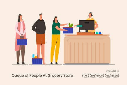 Queue Of People At Grocery Store