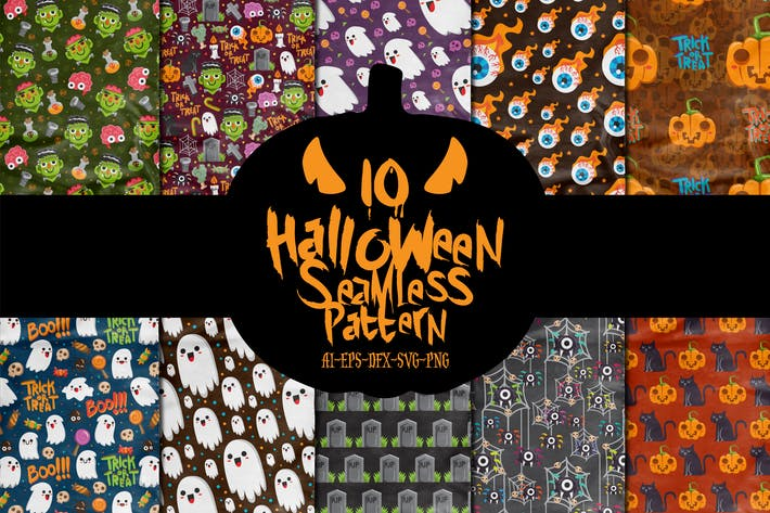 Thumbnail for 10 Boo Halloween Seamless Patterns Vol.1