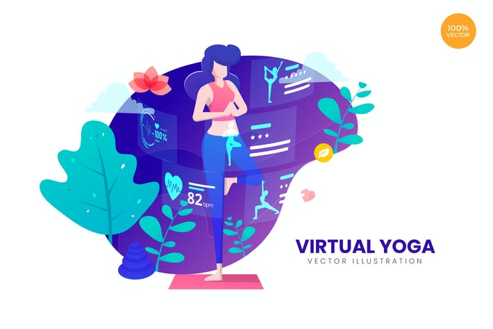 Thumbnail for Virtual Yoga Vector Illustration Concept