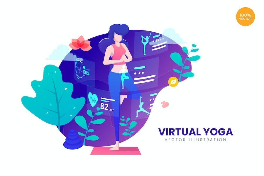 Concepto de ilustración Vector de yoga virtual