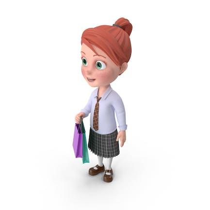 Cartoon Girl Grace Shopping