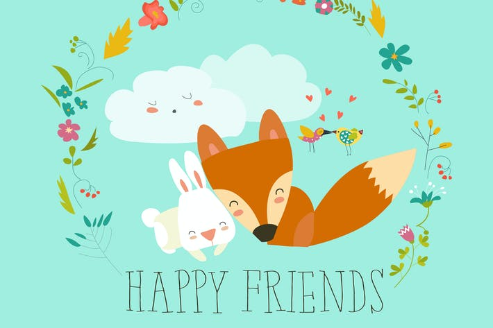 Thumbnail for Happy friends. Fox,rabbit