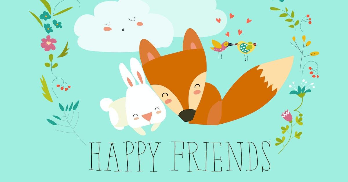 Download Happy friends. Fox,rabbit by masastarus