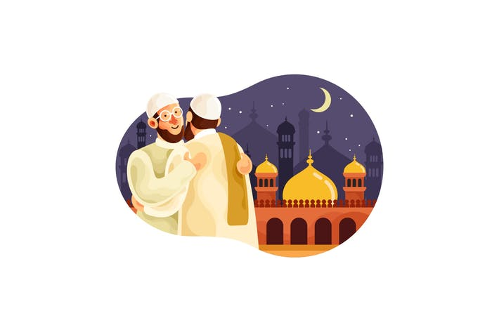 Thumbnail for Eid mubarak with muslim men hugging each other