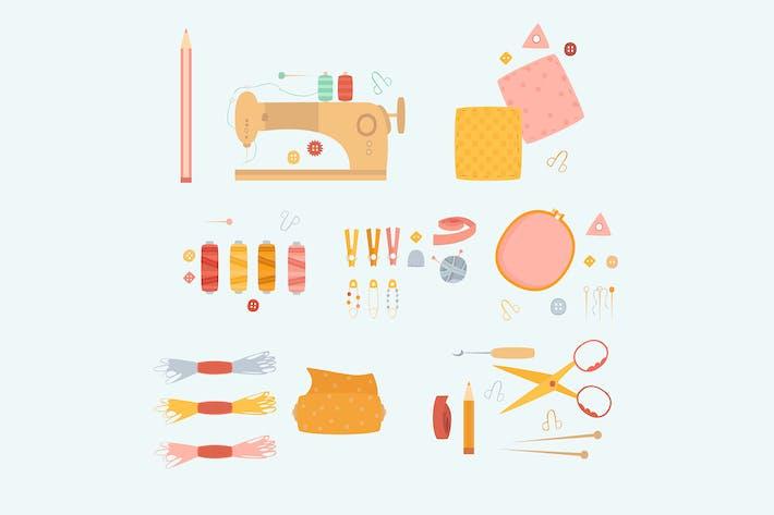 Sewing Needlework Accessories Element Hand Drawn