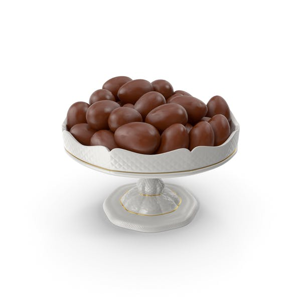 Fancy Porcelain Bowl With Chocolate Eggs