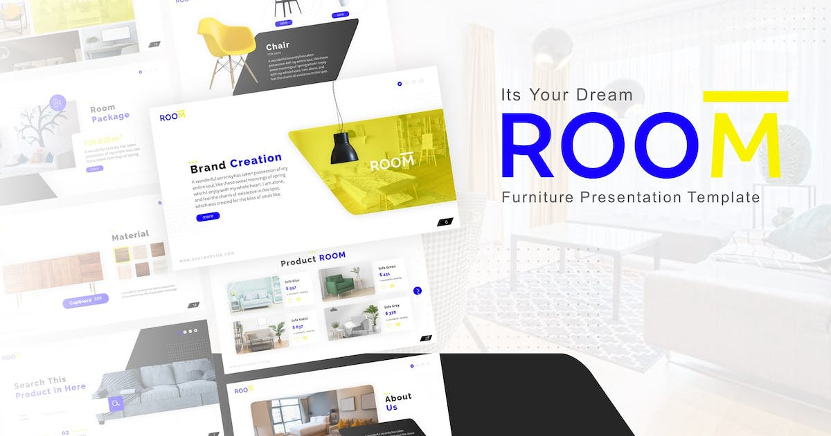 Download Room – Furniture Keynote Presentation Template by RRgraph