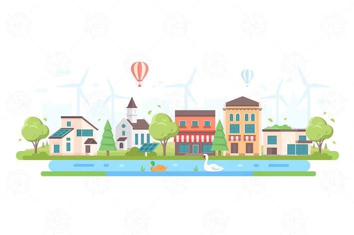 Thumbnail for Eco-friendly cityscape - flat design illustration
